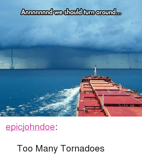 """tornadoes: Annnnnnnd we should turn around... <p><a href=""""https://epicjohndoe.tumblr.com/post/171767984529/too-many-tornadoes"""" class=""""tumblr_blog"""">epicjohndoe</a>:</p>  <blockquote><p>Too Many Tornadoes</p></blockquote>"""