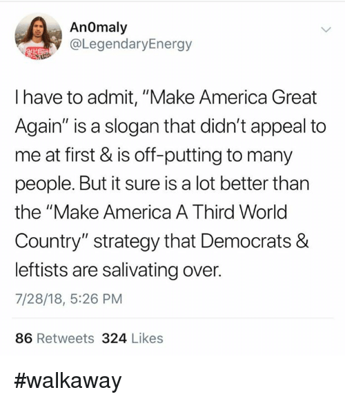 "America, Memes, and World: AnOmaly  @LegendaryEnergy  I have to admit, ""Make America Great  Again"" is a slogan that didn't appeal to  me at first & is off-putting to many  people. But it sure is a lot better than  the ""Make America A Third World  Country"" strategy that Democrats &  leftists are salivating over.  7/28/18, 5:26 PM  86 Retweets 324 Likes #walkaway"