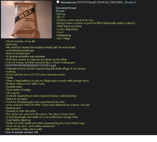 """Notbad: Anonymous 07/11/17(Tue)01:30:54 No.738522955 [Reply]  Greentext thread  I'll start  >Be me  >Be 17  >Brother comes back from Irag  >Brings home a bunch of pork rib MRE's(Basically military rations)  >Tells me to try some  >Looks disgusting  >Try it  >notbad.png  >eat 3 bags  MINU2  PORK RIS  >Worst mistake of my life  Next day  >My stomach makes the loudest whale call I've ever heard  somethingsnotright.ipg  >Book it to bathroom  >A tactical shitstrike was eminent  >Pull down pants an slap my ass down on the toilet  >Let out a huge fart that sounded like a 30mm Gatling gun  PPPFPPFPFFRRRRRRRRTTRTRTT.mp3  >Attempt to force out the massive log that took refuge in my rectum  >nothing  >Push with the force of 2 US army Sherman tanks  >Nada  >Utter a legit battlecry to get my diaphragm to push with enough force  >Brother sitting in the other room  >Audible keks  >Turd starts to budge  >The agony  >Asshole expanding to sizes beyond human understanding  >Tears in my eyes  >Feel the sharpest pain ever experienced by man  >Hear massive """"KER-PLUNK"""" in the toilet followed by a loose, wet fart  >itsdone.exe  >Scared to look into toilet  >For when you stare into the abyss, the abyss stares back  >It had the length and width of a can of Monster energy drink  >Can hardly stand up  >Walk out of the bathroom after experiencing the most violent rape  >Tears in my eyes, and visibly exhausted  >My brother's sides are in orbit  How do people eat that shit"""