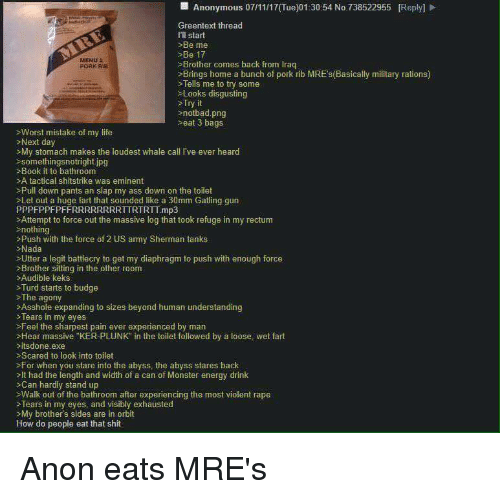 """Notbad: Anonymous 07/11/17(Tue)01:30:54 No.738522955 [Reply]  Greentext thread  Ill start  Be me  Be 17  Brother comes back from Irag  Brings home a bunch of pork rib MREs(Basically military rations)  Tells me to try some  >Looks disgusting  Try it  notbad.png  eat 3 bags  MENU  >Worst mistake of my life  Next day  >My stomach makes the loudest whale call I've ever heard  somethingsnotright.ipg  >Book it to bathroom  >A tactical shitstrike was eminent  Pull down pants an slap my ass down on the toilet  >Let out a huge fart that sounded like a 30mm Gating gun  PPPFPPFPFFRRRRRRRRTTRTRTT mp3  >Attempt to force out the massive log that took refuge in my rectum  nothing  >Push with the force of 2 US army Sherman tanks  Nada  >Utter a legit battlecry to get my diaphragm to push with enough force  Brother sitting in the other room  Audible keks  >Turd starts to budge  >The agony  >Asshole expanding to sizes beyond human understanding  *Tears in my eyes  >Feel the sharpest pain ever experienced by man  >Hear massive """"KER-PLUNK"""" in the toilet followed by a loose, wet fart  itsdone exe  Scared to look into toilet  >For when you stare into the abyss, the abyss stares back  >It had the length and width of a can of Monster energy drink  >Can hardly stand up  sWalk out of the bathroom after experiencing the most violent rape  >Tears in my eyes, and visibly exhausted  My brother's sides are in orbit  How do people eat that shit"""