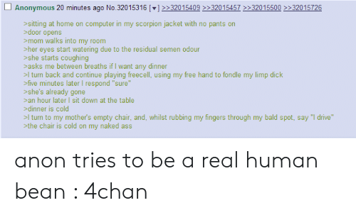 """A Real Human Bean: Anonymous 20 minutes ago No.32015316 [] 3201540932015457 32015500 >32015726  sitting at home on computer in my scorpion jacket with no pants on  door opens  mom walks into my room  her eyes start watering due to the residual semen odour  she starts coughing  asks me between breaths if I want any dinner  >l turn back and continue playing freecell, using my free hand to fondle my limp dick  five minutes later I respond """"sure""""  she's already gone  an hour later sit down at the table  dinner is cold  >I turn to my mother's empty chair, and, whilst rubbing my fingers through my bald spot, say """"I drive""""  the chair is cold on my naked ass anon tries to be a real human bean : 4chan"""