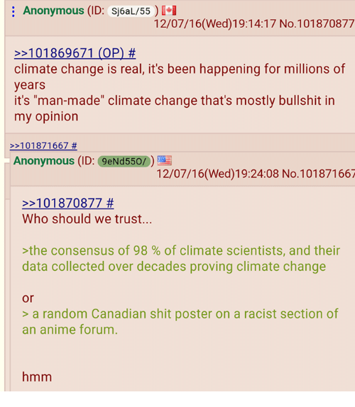 "4chan, Anonymous, and Racist: Anonymous (ID: Sj6aL/55 i  12/07/16(Wed) 19:14:17 No.101870877  2 101869671 (OP)  climate change is real, it's been happening for millions of  years  it's man-made"" climate change that's mostly bullshit in  my opinion  101871667  Anonymous (ID: 9eNd550/0)  12/07/16(Wed) 19:24:08 No.101871667  101870877  Who should we trust...  the consensus of 98 of climate scientists, and their  data collected over decades proving climate change  or  a random Canadian shit poster on a racist section of  an anime forum  hmm"