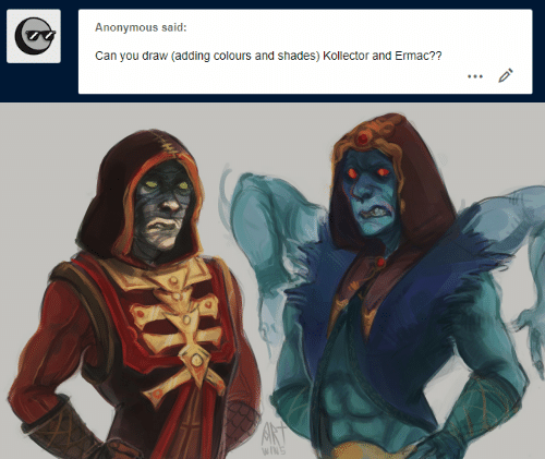 shades: Anonymous said:  Can you draw (adding colours and shades) Kollector and Ermac??   AKT  WINS