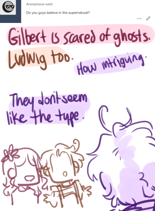 The Supernatural: Anonymous said:  Do you guys believe in the supernatural?   Glbect is scared of ghosts  Ludwig too  How mtigung  They donkseem  lke the type