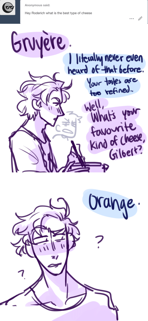 ora: Anonymous said:  Hey Roderich what is the best type of cheese   Gruyere  litesaly never even  heard of that before  Your tostes ase  too refined  Well  Whut's your  favourite  Kind of Cheese  Gilbert?   Ora  17
