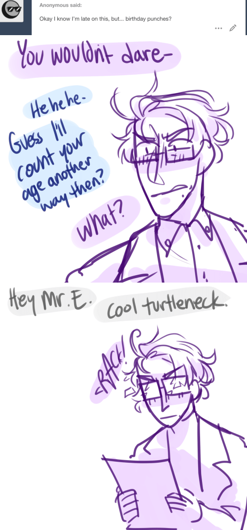 punches: Anonymous said:  Okay I know I'm late on this, but... birthday punches?  ID   You Wouldnt dare  He he he  Guess  COunt yow  age anofher  Way then?  What?   Hey Mr E  Cool turtleneck  RACH