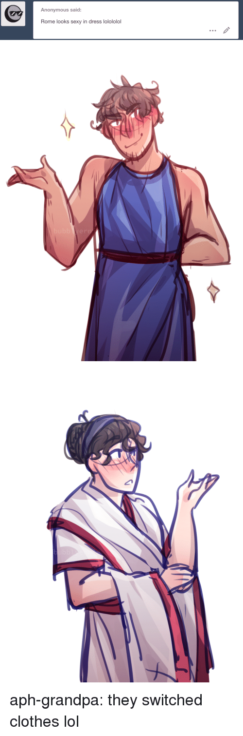 lolololol: Anonymous said:  Rome looks sexy in dress lolololol aph-grandpa:  they switched clothes lol