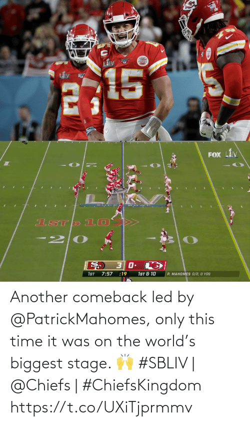 Comeback: Another comeback led by @PatrickMahomes, only this time it was on the world's biggest stage. 🙌   #SBLIV | @Chiefs | #ChiefsKingdom https://t.co/UXiTjprmmv
