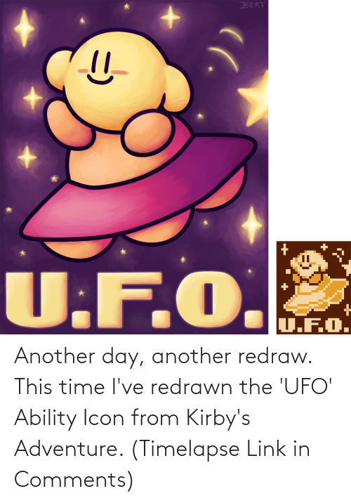 ufo: Another day, another redraw. This time I've redrawn the 'UFO' Ability Icon from Kirby's Adventure. (Timelapse Link in Comments)
