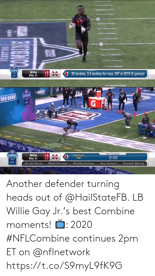 willie: Another defender turning heads out of @HailStateFB.  LB Willie Gay Jr.'s best Combine moments!  📺: 2020 #NFLCombine continues 2pm ET on @nflnetwork https://t.co/S9myL9fK9G