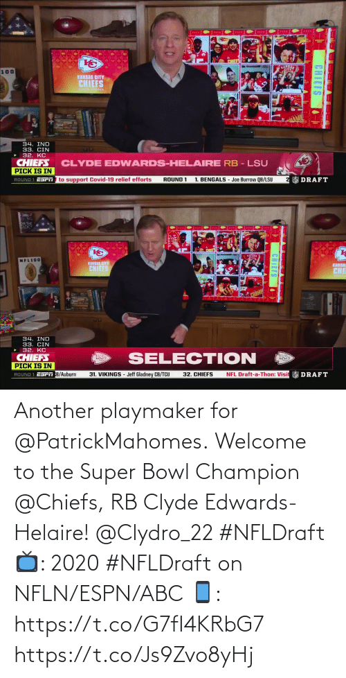 ESPN: Another playmaker for @PatrickMahomes.  Welcome to the Super Bowl Champion @Chiefs, RB Clyde Edwards-Helaire! @Clydro_22 #NFLDraft  📺: 2020 #NFLDraft on NFLN/ESPN/ABC 📱: https://t.co/G7fI4KRbG7 https://t.co/Js9Zvo8yHj