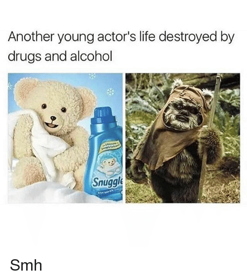 Drugs, Life, and Memes: Another young actor's life destroyed by  drugs and alcohol  Snuggl Smh