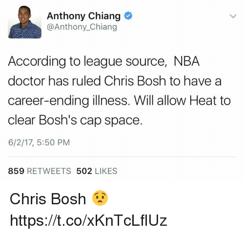 Chris Bosh: Anthony Chiang  @Anthony Chiang  According to league source, NBA  doctor has ruled Chris Bosh to have a  career-ending illness. Will allow Heat to  clear Bosh's cap space  6/2/17, 5:50 PM  859  RETWEETS  502  LIKES Chris Bosh 😧 https://t.co/xKnTcLflUz
