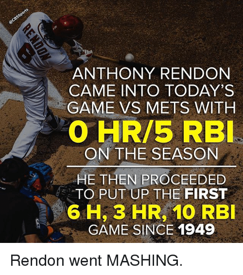 Memes, Game, and Mets: ANTHONY RENDON  CAME INTO TODAY'S  GAME VS METS WITH  EO HR/5 RBI  ON THE SEASON  HE THEN PROCEEDED  TO PUT UP THE FIRST  6 H, 3 HR, 10 RBI  GAME SINCE 1949 Rendon went MASHING.