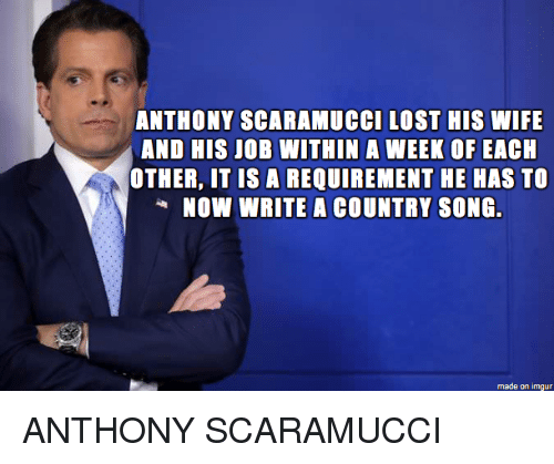 Lost, Imgur, and Wife: ANTHONY SCARAMUCCI LOST HIS WIFE  AND HIS JOB WITHIN A WEEK OF EACH  OTHER, IT IS A REQUIREMENT HE HAS TO  NOW WRITE A COUNTRY SONG.  made on imgur