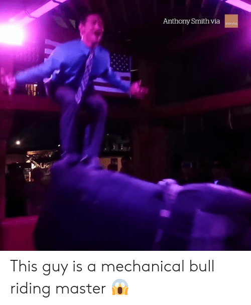 mechanical: Anthony Smith via This guy is a mechanical bull riding master 😱