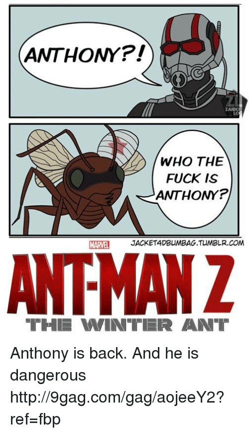 iter: ANTHONY  WHO THE  FUCK IS  ANTHONY P  MARVEL  JACKETADBUMBAG.TUMBLR.COM  AIRMAN Z  THI VWIN ITER AINT Anthony is back. And he is dangerous http://9gag.com/gag/aojeeY2?ref=fbp