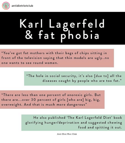 "karl lagerfeld: antidietriotclub  Karl Lagerfeld  & fat phobia  ""You've got fat mothers with their bags of chips sitting in  front of the television saying that thin models are ugly..no  one wants to see round women.  ""The hole in social security, it's also [due to] all the  diseases caught by people who are too fat.""  ""There are less than one percent of anorexic girls. But  there are...over 30 percent of girls [who are] big, big,  overweight. And that is much more dangerous  He also published 'The Karl Lagerfeld Diet' book  glorifying hunger/deprivation and suggested chewing  food and spitting it out.  Anti Diet Riot Club"