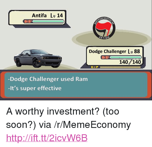 """Dodge Challenger, Soon..., and Dodge: Antifa Lu 14  Dodge Challenger Lu 88  HP  140, 140  Dodge Challenger used Ram  -It's super effective <p>A worthy investment? (too soon?) via /r/MemeEconomy <a href=""""http://ift.tt/2icvW6B"""">http://ift.tt/2icvW6B</a></p>"""