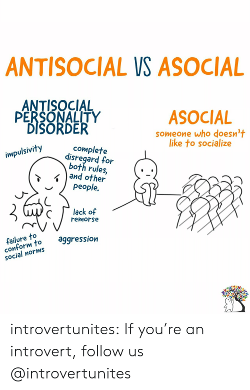 norms: ANTISOCIAL VS ASOCIAL  ANTISOCIAL  PERSONALITY  DISORDER  ASOCIAL  someone who doesn't  like to socialize  complete  disregard for  both rules,  and other  people.  impulsivity  lack of  remorse  failure to  conform to  SOcial norms  aggression introvertunites:  If you're an introvert, follow us @introvertunites​