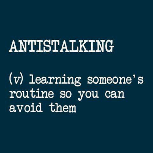 routine: ANTISTALKING  (v) learning someone's  routine so you can  avoid them