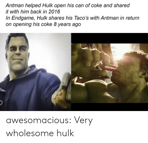 2016 In: Antman helped Hulk open his can of coke and shared  it with him back in 2016  In Endgame, Hulk shares his Taco's with Antman in return  on opening his coke 8 years ago awesomacious:  Very wholesome hulk