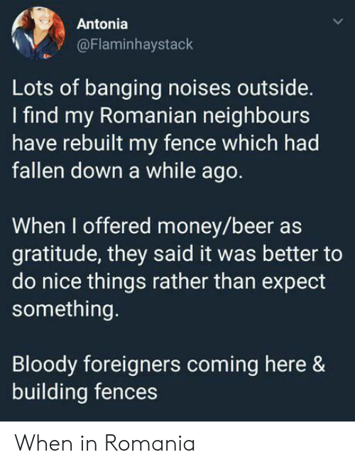 gratitude: Antonia  @Flaminhaystack  Lots of banging noises outside.  find my Romanian neighbours  have rebuilt my fence which had  fallen down a while ago.  When I offered money/beer as  gratitude, they said it was better to  do nice things rather than expect  something.  Bloody foreigners coming here &  building fences When in Romania