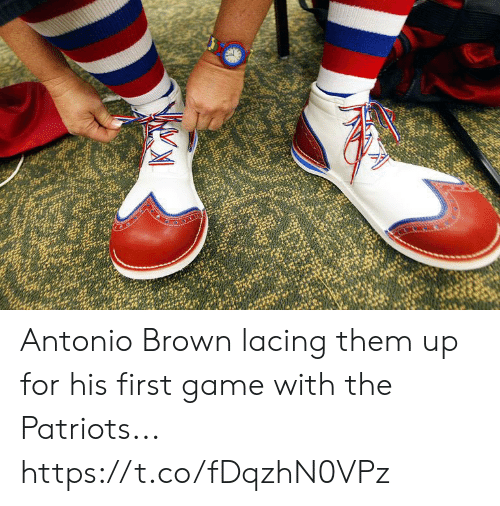 Antonio Brown: Antonio Brown lacing them up for his first game with the Patriots... https://t.co/fDqzhN0VPz