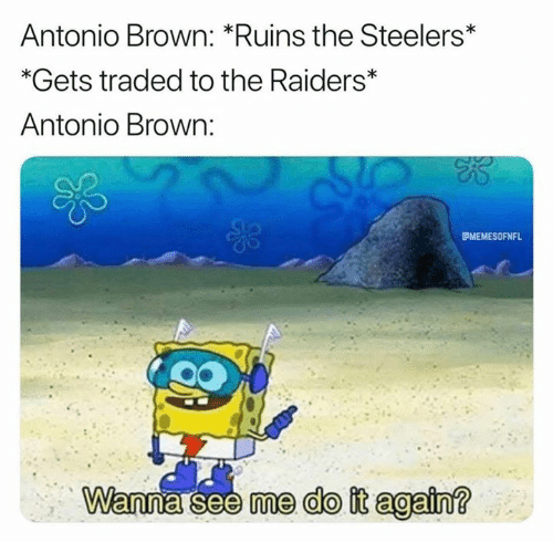 wanna see me: Antonio Brown: *Ruins the Steelers*  *Gets traded to the Raiders*  Antonio Brown:  MEMESOFNFL  Wanna see me do it again?