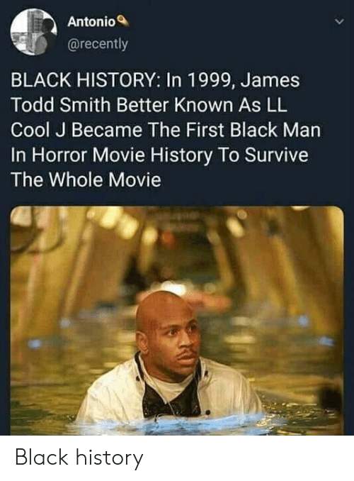 horror movie: Antonio  @recently  BLACK HISTORY: In 1999, James  Todd Smith Better Known As LL  Cool J Became The First Black Man  In Horror Movie History To Survive  The Whole Movie Black history