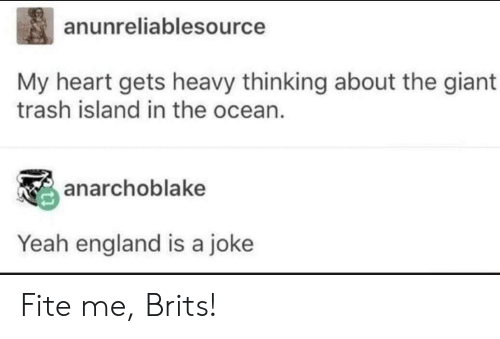 Fite: anunreliablesource  My heart gets heavy thinking about the giant  trash island in the ocean  anarchoblake  Yeah england is a joke Fite me, Brits!