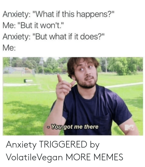 """You Got Me There: Anxiety: """"What if this happens?""""  Me: """"But it won't.""""  Anxiety: """"But what if it does?""""  Me:  You got me there Anxiety TRIGGERED by VolatileVegan MORE MEMES"""