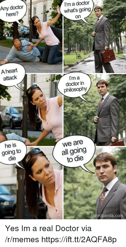 Im A Doctor: Any doctor  here?  I'm a doctor  what's going  on  A heart  attack  I'm a  doctor in  philosophy  he is  going to  die  we are  all going  to die  97  boredpanda.co Yes Im a real Doctor via /r/memes https://ift.tt/2AQFA8p