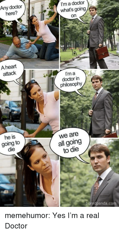 Im A Doctor: Any doctor  here?  I'm a doctor  what's going  on  A heart  attack  I'm a  doctor in  philosophy  he is  going to  die  we are  all going  to die  97  boredpanda.co memehumor:  Yes I'm a real Doctor