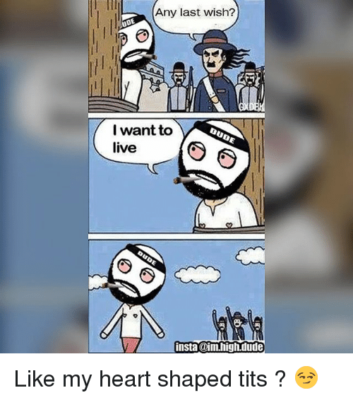 Dude, Memes, and Tits: Any last wish?  ODE  I want to  live  insta dAm.high.dude Like my heart shaped tits ? 😏