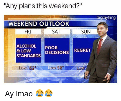 "Funny, Lmao, and Regret: ""Any plans this weekend?""  drgrayfang  WEEKEND OUTLOOK  FRI  SAT  SUN  ALCOHOL POOR  8 LOW  STANDARDS DECISIONS REGRET  Low 62 Ay lmao 😂😂"