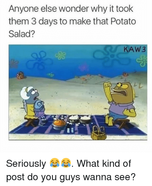 Memes, Potato, and Wonder: Anyone else wonder why it took  them 3 days to make that Potato  Salad?  AW3 Seriously 😂😂. What kind of post do you guys wanna see?