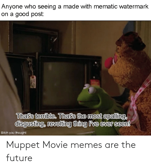Movie Memes: Anyone who seeing a made with mematic watermark  on a good post:  That's terrible. That's the most apalling,  disgusting, revolting thing lve ever seen!  Bitch you thought Muppet Movie memes are the future