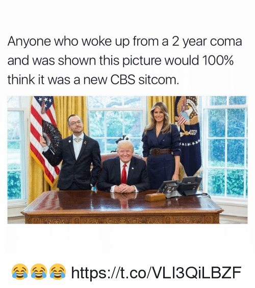 Anaconda, Funny, and Cbs: Anyone who woke up from a 2 year coma  and was shown this picture would 100%  think it was a new CBS sitcom 😂😂😂 https://t.co/VLI3QiLBZF