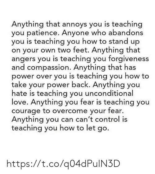 Compassion: Anything that annoys you is teaching  you patience. Anyone who abandons  you is teaching you how to stand up  on your own two feet. Anything that  angers you is teaching you forgiveness  and compassion. Anything that has  power over you is teaching you how to  take your power back. Anything you  hate is teaching you unconditional  love. Anything you fear is teaching you  courage to overcome your fear.  Anything you can can't control is  teaching you how to let go. https://t.co/q04dPulN3D