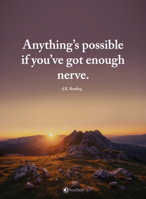 Anythings Possible: Anything's possible  if you've got enough  nerve.  J.K. Rowling