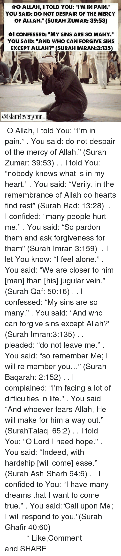 "Being Alone, Ash, and Life: AO ALLAH, I TOLD YOU: ""I'M IN PAIN.""  YOU SAID: DO NOT DESPAIR OF THE MERCY  OF ALLAH."" (SURAH ZUMAR: 39:53)  GI CONFESSED: ""MY SINS ARE SO MANY.""  YOU SAID: ""AND WHO CAN FORGIVE SINS  EXCEPT ALLAH?"" (SURAH IMRAN:3135)  @islam4everyone- ・・・ ✿O Allah, I told You: ""I'm in pain."" . You said: do not despair of the mercy of Allah."" (Surah Zumar: 39:53) ⊹. . ✿I told You: ""nobody knows what is in my heart."" . You said: ""Verily, in the remembrance of Allah do hearts find rest"" (Surah Rad: 13:28) ⊹⊱ . ✿I confided: ""many people hurt me."" . You said: ""So pardon them and ask forgiveness for them"" (Surah Imran 3:159) ⊹⊱ . ✿I let You know: ""I feel alone."" . You said: ""We are closer to him [man] than [his] jugular vein."" (Surah Qaf: 50:16) ⊹. . ✿I confessed: ""My sins are so many."" . You said: ""And who can forgive sins except Allah?"" (Surah Imran:3:135) ⊹. . ✿I pleaded: ""do not leave me."" . You said: ""so remember Me; I will re member you…"" (Surah Baqarah: 2:152) ⊹. . ⊱✿I complained: ""I'm facing a lot of difficulties in life."" . You said: ""And whoever fears Allah, He will make for him a way out."" (SurahTalaq: 65:2) ⊹⊱. . ✿I told You: ""O Lord I need hope."" . You said: ""Indeed, with hardship [will come] ease."" (Surah Ash-Sharh 94:6) ⊹⊱. . ✿I confided to You: ""I have many dreams that I want to come true."" . You said:""Call upon Me; I will respond to you.""(Surah Ghafir 40:60) سُبْحَانَ اللهِ وَبِحَمْدِهِ *سُبْحَانَ اللهِ الْعَظِيْمِ Like,Comment and SHARE"