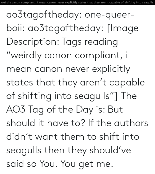 "Boii: ao3tagoftheday:  one-queer-boii:  ao3tagoftheday:  [Image Description: Tags reading ""weirdly canon compliant, i mean canon never explicitly states that they aren't capable of shifting into seagulls""]  The AO3 Tag of the Day is: But should it have to?   If the authors didn't want them to shift into seagulls then they should've said so  You. You get me."