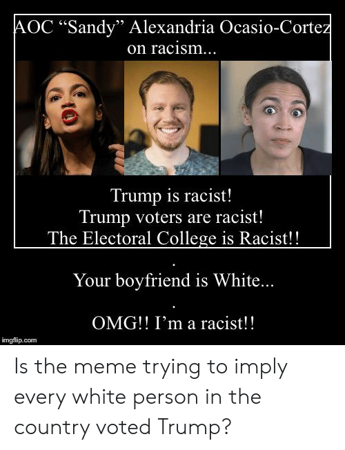"""Racist Trump: AOC """"Sandy"""" Alexandria Ocasio-Cortez  on racism...  Trump is racist!  Trump voters are racist!  The Electoral College is Racist!!  Your boyfriend is White...  OMG! I'm a racist!!  imgflip.com Is the meme trying to imply every white person in the country voted Trump?"""