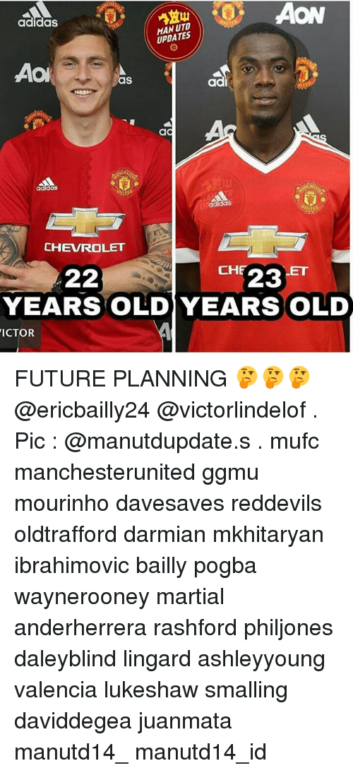 Adidas, Future, and Memes: AON  adidas  UPDATES  Aol  as  CHEVROLET  CH  23  22  YEARS OLD YEARS OLD  ICTOR FUTURE PLANNING 🤔🤔🤔 @ericbailly24 @victorlindelof . Pic : @manutdupdate.s . mufc manchesterunited ggmu mourinho davesaves reddevils oldtrafford darmian mkhitaryan ibrahimovic bailly pogba waynerooney martial anderherrera rashford philjones daleyblind lingard ashleyyoung valencia lukeshaw smalling daviddegea juanmata manutd14_ manutd14_id