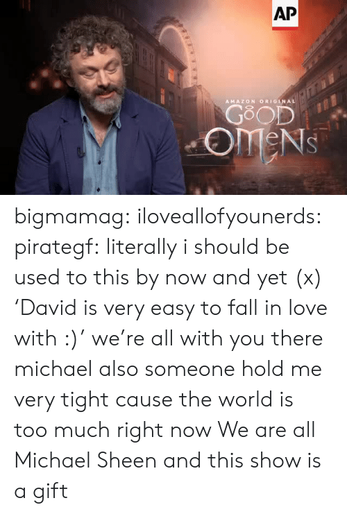 you there: AP  AMAZON ORIGINAL  GOOD  OMENS bigmamag:  iloveallofyounerds:   pirategf: literally i should be used to this by now and yet (x) 'David is very easy to fall in love with :)'  we're all with you there michael also someone hold me very tight cause the world is too much right now    We are all Michael Sheen and this show is a gift