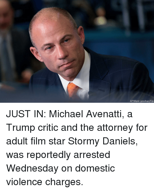 Domestic Violence: AP/Mark Lennihan/File JUST IN: Michael Avenatti, a Trump critic and the attorney for adult film star Stormy Daniels, was reportedly arrested Wednesday on domestic violence charges.