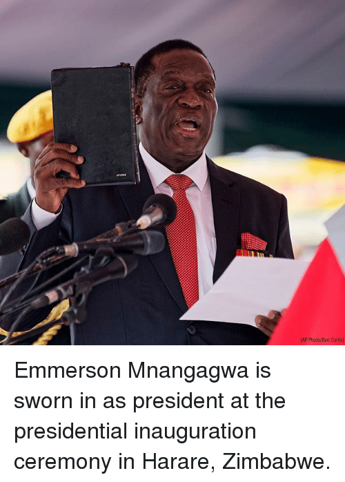 presidential inauguration: AP Photo/Ben Curtis Emmerson Mnangagwa is sworn in as president at the presidential inauguration ceremony in Harare, Zimbabwe.