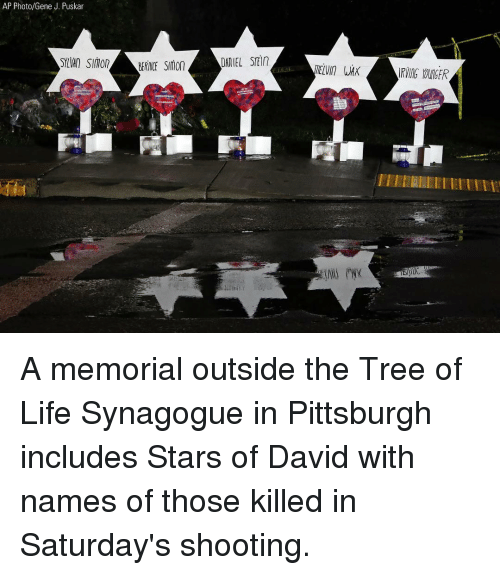 Memorial: AP Photo/Gene J. Puskar  SYLVANSIMOBERINICE Smon  DANIEL STEi  ELVI WAX  IRVING YOUIGER A memorial outside the Tree of Life Synagogue in Pittsburgh includes Stars of David with names of those killed in Saturday's shooting.