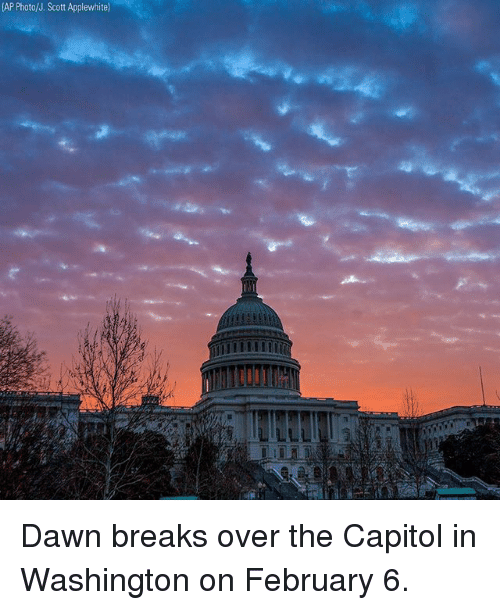 Memes, Dawn, and 🤖: (AP Photo/J. Scott Applewhite Dawn breaks over the Capitol in Washington on February 6.